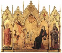 Simone Martini and Lippo Memmi: 1333-1335: St. Ansanus Altarpiece (The Annunciation with St. Margaret and St. Ansanus) [International Gothic; Italy]