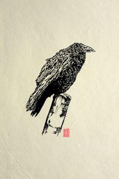 lino print by Red Boy Prints 2015 © Gravure, Crow, Rugby, Printmaking, Urban, Adventure, Boys, Prints, Movie Posters