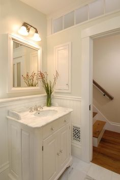 Traditional Bathroom Powder Room Design Ideas, Pictures, Remodel, and Decor - page 5 Upstairs Bathrooms, Downstairs Bathroom, Bathroom Renos, Bathroom Ideas, Bathroom Designs, Bathroom Wall, White Vanity Bathroom, Modern Bathroom, Small Bathroom