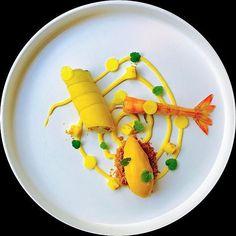 Mango cream mango sorbet prawn tartare with avocado carrot by @marco_tola_chef