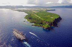 PACIFIC OCEAN (July 6, 2008) The Nimitz-class aircraft carrier USS Ronald Reagan (CVN 76) pulls into Agana Harbor off the coast of Guam.