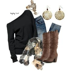 Off the shoulder sweater, earth coloured scarf, accessories, and cute boots!