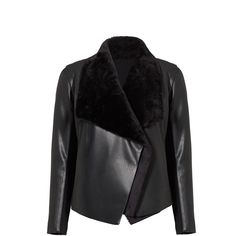 BB Dakota Black Faux Fur Draped Leather Jacket (€105) ❤ liked on Polyvore featuring outerwear, jackets, faux fur jacket, fake fur jacket, real leather jackets, 100 leather jacket and drape jacket