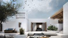 Interior design of a family house in Mykonos. Design Exterior, Interior And Exterior, Style At Home, Outdoor Spaces, Outdoor Living, Mykonos Villas, Myconos, Desert Homes, Beach Bungalows
