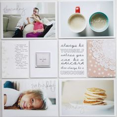 Scrapbook inspiration (but for 12 x 12 scrapbooking). Good idea to scrapbook a week of your life.