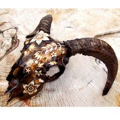 Ram Skull with Pyrography Decorated skull by GlenoutherCrafts