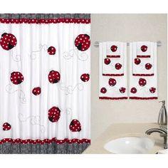 Polka Dot Ladybug Kids Bathroom Fabric Bath Shower Curtain
