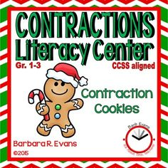CONTRACTIONS: Contraction Cookies Literacy Center  Cute center for contractions practice.  Holiday neutral.  Extension activity for The Gingerbread Man. $
