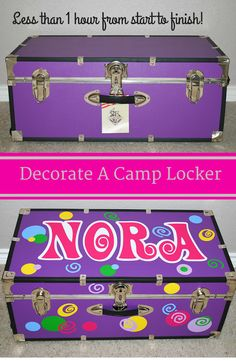 Decorate A Camp Locker in under an hour. Easy DIY lesson on how to decorate a summer camp locker / trunk. Custom Trunks are all the rage and your little one with adore it. Less than 1 hour from start to finish! Uses a Cricut cutting machine and vinyl. Summer Camp Packing, Camping Packing, Camping Games, Camping Equipment, Camping With Kids, Go Camping, Camping Ideas, Pine Cove Camp, College Trunks