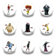 New Arrival Hot 9pcs/lot Hotel Transylvania Pins Buttons Badges Round Badges fashion Bags parts accessories Party children Gifts