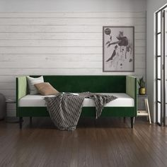 Upholstered Daybed, Full Size Mattress, Full Daybed, Comfort Mattress, Teen Bedding, Guest Bed, Wood Slats, Green Velvet, Bed Sizes