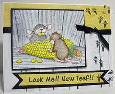 """Here is my card for the House Mouse Challenge which requires us to use """" humor """" in our cards. Card Tags, I Card, Scrapbook Cards, Scrapbooking, House Mouse Stamps, House Cards, Fun Cards, Beatrix Potter, Copic Markers"""