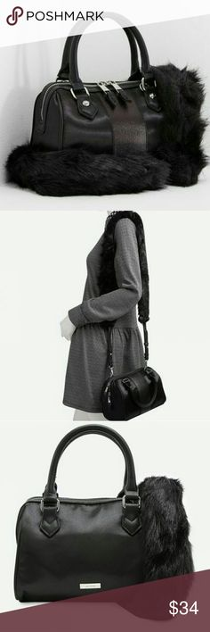 """SALE! ALDO Diva Satchel in Jet Black Be it your intense winter look or a cheerful summer appearance, this black colored satchel from Aldo will certainly do justice to both. You will catch everyone's eye with our feminie leather like purse.  Dual carry options, comfy faux fur shoulder strap or little round handles.  Measurements 9"""" W x 7"""" H x 5"""" D  Packaged with care  Sealed in packaging  Brand New! Never Used Boutique NWOT   Also available in Blush in my closet Aldo Bags"""
