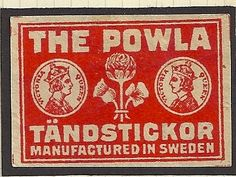 """Matchbox Label THE POWLA TANDSTICKOR Queen Victoria Early 20th c. Made in Sweden  1-3/8"""" x 2-1/4"""