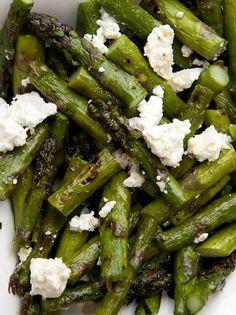 Grilled asparagus + feta + lemon zest + olive oil