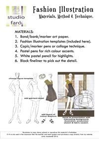 #FashionIllustration Worksheet and Videos  Process, materials, and technique. Follow me on Youtube.