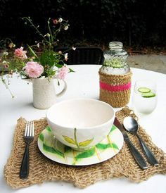 DIY home crafts DIY kates knitted twine dining set DIY home crafts