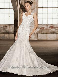 Trumpet/Mermaid Straps Lace Satin Sweep Train Ivory Appliques Wedding Dresses -$238.39