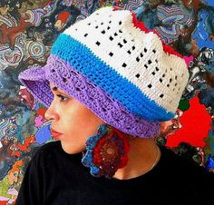 5ec0303d2f98 Multicolor crochet hat with brim by AtabeyHandCreations on Etsy