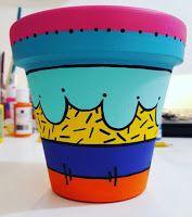Macetas pintadas - color Paint Garden Pots, Painted Plant Pots, Painted Flower Pots, Clay Flower Pots, Clay Pots, Cactus Clipart, Decorated Flower Pots, Flower Pot Design, Plastic Bottle Crafts