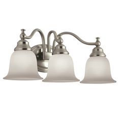 Portfolio 3 Light Lyndsay Brushed Nickel Bathroom Vanity Light