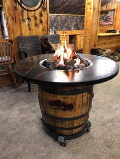 Diy Propane Fire Pit, Gas Fire Pit Table, Diy Fire Pit, Wine Barrel Fire Pit, Whiskey Barrel Table, Whiskey Barrels, Barrel Bar, Bourbon Barrel, Outside Fire Pits
