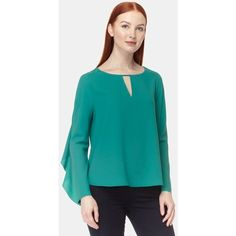 COOPER AND ELLA Selma Blouse - Pine Green (1 710 SEK) ❤ liked on Polyvore featuring tops, blouses, pine green, cut out blouse, ruffle sleeve blouse, green long sleeve blouse, flutter sleeve blouse and blue long sleeve blouse