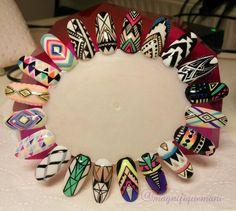 thổ cẩm Nail Art Tribal, Neon Nail Art, Tribal Nails, Geometric Nail, Acrylic Nail Art, Nail Art Diy, Diy Nails, Swag Nails, Natural Nail Designs