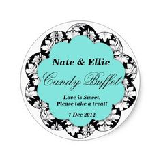 Black & Aqua Scallop Damask Candy Buffet Sticker online after you search a lot for where to buyShopping          	Black & Aqua Scallop Damask Candy Buffet Sticker Online Secure Check out Quick and Easy...