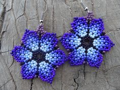 Huichol Seed Bead Earrings Flower Shades of Bright Blue! For sale on Etsy...