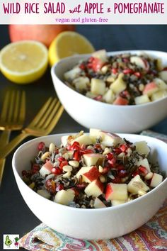 Wild Rice Salad with Apple and Pomegranate is an easy to make salad with fabulous flavors. It also contains pine nuts, dates, and a tangy dressing. Enjoy it for lunch or serve it as a side during the holidays. #wildrice #salad #apple #pomegranate #holiday #instantpot #pressurecooker #vegan #vegetarian #glutenfree #recipe