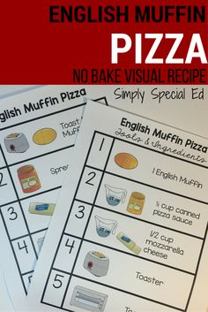 English muffin pizza NO STOVE NO OVEN visual recipe for students with special needs