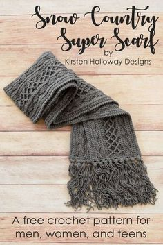 Super Scarf: Free Pattern Crochet a richly textured scarf for men, women or teens with this free crochet pattern! It's the answer to your winter weather fashion, and comfort needs. Make it with or without tassels--the choice is up to you! Bonnet Crochet, Crochet Motifs, Free Crochet Scarf Patterns, Hat Patterns, Crochet Ideas, Crochet Projects, Pattern Ideas, Afghan Patterns, Clothes Patterns