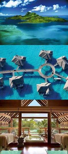 If I ever have the means...the Four Seasons Resort in Bora Bora. Wow.