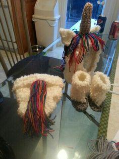 "Baby unicorn hood diaper cover and ""hoofs""baby crochet"