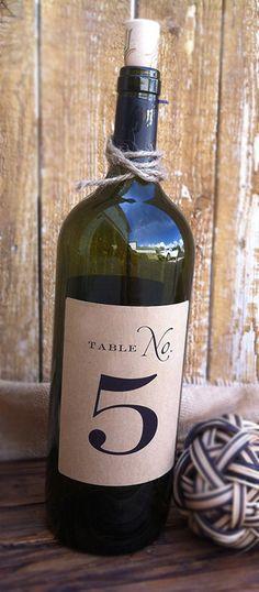 Wine Bottle Table Numbers by paperandlaceaustin on Etsy, $39.00