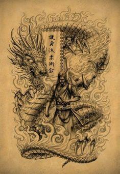 Эскиз тату в виде дракона и мужчины