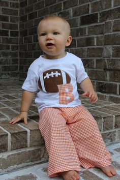 Perfect for football season!!  Collegiate Initial Football T and Pants Set by goatandlulu on Etsy, $28.00