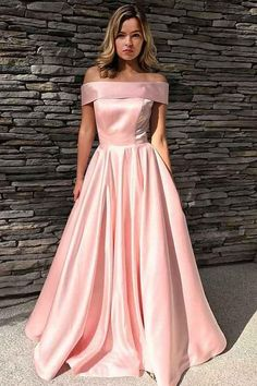 fdfcaf3172b A-Line Off-the-Shoulder Sweep Train Pink Satin Prom Dress with Pockets JJP  3500