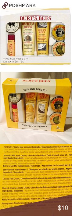 Burt's Bees Tips and Toes Kit Extreme Set Perfect Stocking Stuffers! Burts Bees Tips and Toes Kit Extreme Set. New in Box.   Set of 6 includes:   *Hand Salve .03oz *Almond & Milk Hand Cream .25oz *Lemon Butter Cuticle Cream .03oz *Coconut Foot Cream .75oz *Honey & Grape seed Hand Cream .75oz *Pomegranate Moisturizing Lip Balm .15oz Burt's Bees Makeup