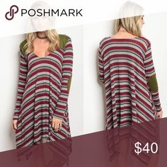 Burgundy Stripe Knit Sweater Dress & Suede Patches Burgundy Stripe Knit Sweater Dress with Suede Patches  ❣️Preorder Ships End of the Week❣️ No Trades Price is Firm Glamvault Dresses