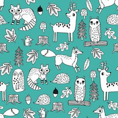 autumn animals // critters fox raccoon owls woodland kids design andrea lauren illustration andrea lauren fabric fabric by andrea_lauren on Spoonflower - custom fabric