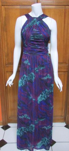 Sangria Full Length Print Gown Sz 8 NWT Front Cross Neck  #Sangria #Gown #Cocktail