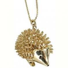 """Yellow-Gold Hedgehog Necklace  $3,960.00    14k yellow-gold hedgehog charm with black diamond eyes. 30"""" heavy ball chain. Meant to be worn long. Perfect for layering! Additional chain lengths available by request. Charm measures approximately 3/4"""" x 1""""."""