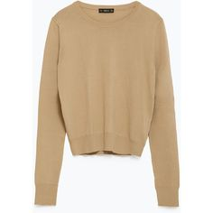 Zara Cropped Sweater ($40) ❤ liked on Polyvore featuring tops, sweaters, camel, crop top, zara top, brown sweater, brown crop top and cropped sweater