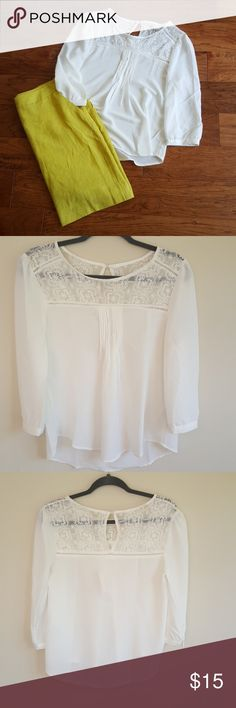 Ethereal Lace Detail Blouse NWOT, beautiful top with lace detail, pleats down middle of shirt, pearl buttons on each sleeve, a bit see through, pen markings on inside of left sleeve Mine Tops Blouses