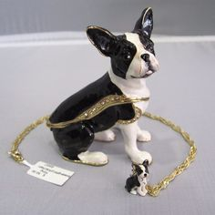 New Trinket Box Gift Painted Crystals Boston Terrier Dog Necklace