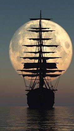 Old Ship Under The Moonlight