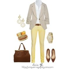 polyvore outfits | Yellow Skinny Pants, created by uniqueimage on Polyvore by marcella