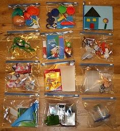 Toddler Busy Bags. Just did this last night for my toddler. He knows once he's done playing with one bag he can place all toys back in and get another. We shall see if this helps with clean up time :)